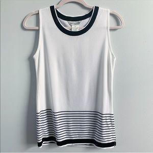 Misook | White Black Striped Sleeveless Blouse Top